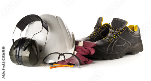 Cuadros en Lienzo Work safety and protection equipment - protective shoes, safety glasses, gloves