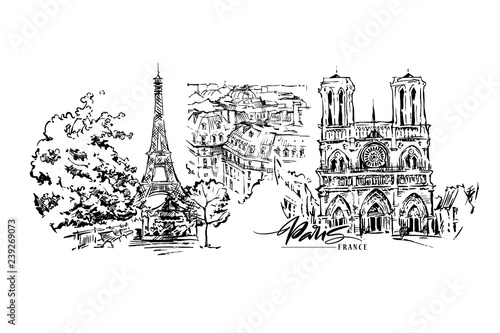 Платно Paris vector illustration. Hand drawn vector artwork.