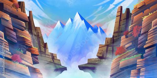 Fantasy Snow Mountain. Tło fikcji. Art Concept. Realistyczna ilustracja. Grafika cyfrowa do gier komputerowych. Krajobrazy.