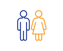 Restroom Line Icon. WC Toilet Sign. Public Lavatory Symbol. Colorful Outline Concept. Blue And Orange Thin Line Color Icon. Restroom Vector