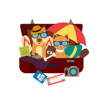 Pet Travel. A Cute Dog And Cat Sitting In A Suitcase And Vacation Accessories.  Logo For Travel On A Sticker, Poster, Card, Business Card For A Travel Company.