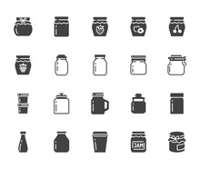 Bottle Of Jam Flat Glyph Icons. Glass Packaging For Fruit Confiture, Raspberry Strawberry Jelly Container Vector Illustrations. Signs For Sweet Food Store. Solid Silhouette Pixel Perfect 64x64