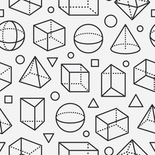 Geometric Shapes Seamless Pattern With Flat Line Icons. Modern Abstract Background For Geometry, Math Education. Mathematics Figures - Cube, Sphere, Cone, Prism, Black White Vector Illustrations