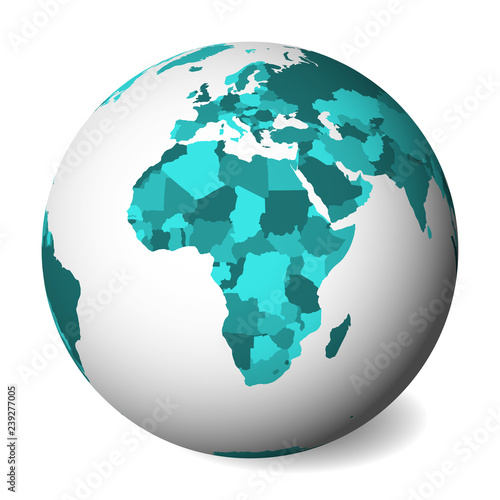 Map Of Africa 3d.Blank Political Map Of Africa 3d Earth Globe With Turquoise Blue