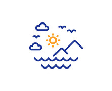 Travel Sea Mountains Line Icon. Sun, Clouds And Waves Sign. Summer Holidays Symbol. Colorful Outline Concept. Blue And Orange Thin Line Color Sea Mountains Icon. Vector