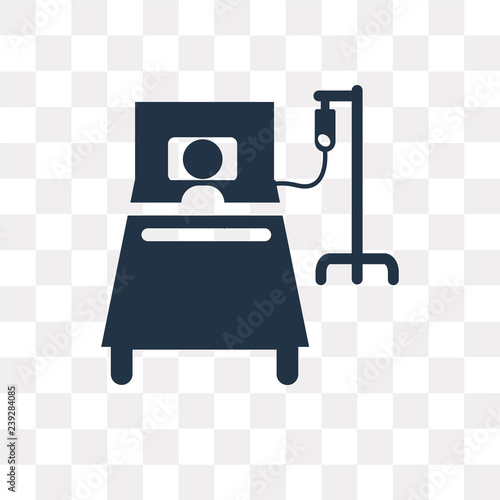 Hospital bed vector icon isolated on transparent background
