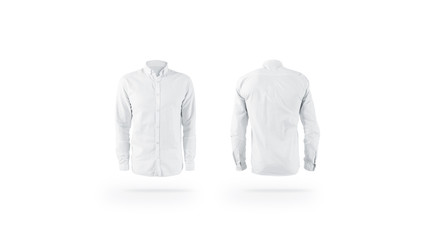 Blank white weared classic mens shirt mockup set, front back