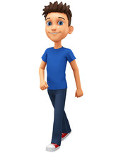 Cartoon Character Guy In A Blu...