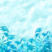 Watercolor Bouquet Of Blue Flowers, Beautiful Abstract Splash Of Paint, Fashion Illustration. Blue Cornflower,iris, Lily, Wildflowers,field Or Garden Flowers. Watercolor Abstract.Countryside Landscape