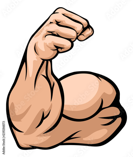 A strong arm showing its biceps muscle illustration Wallpaper Mural