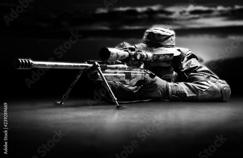 Fotomural  Sniper took the position and waits for the goal.