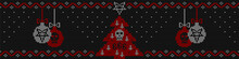 Ugly Sweater Knitted  Background In Black, Red And White Colors. Christmas Tree Decorated With A Pentagram, Inverted Crosses And A Skull And Christmas Balls With Skull And Pentagram.