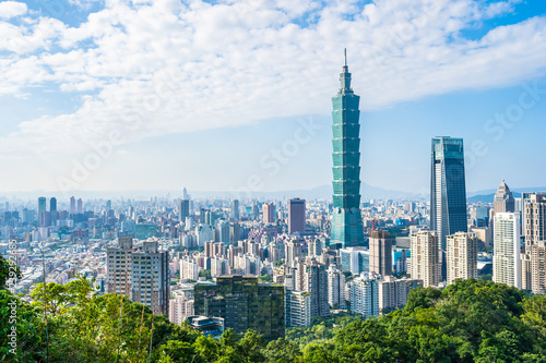 Beautiful landscape and cityscape of taipei 101 building and architecture in the Canvas Print