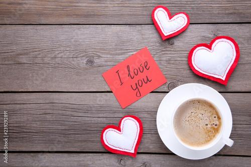 Foto op Plexiglas Valentine's day background with decoration. Composition on grey background.