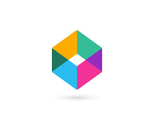 Abstract Business Logo Icon Design With Cube Letter O