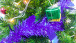 Leinwanddruck Bild - Christmas tree  background with christmas decoration and free space  : Happy and holiday background  concept