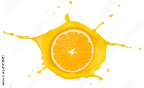 orange slice inside a juice splash isolated on white