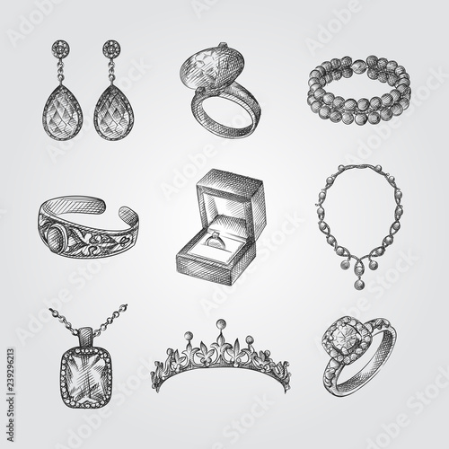 Leinwand Poster Hand Drawn Jewelry Sketches Set