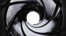 View Through The Gun Barrel. Clipping Path. 3D Illustration