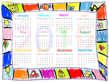 Colorful  Chalk Drawing Doodles Frame Children Kids Calendar 2019 Year