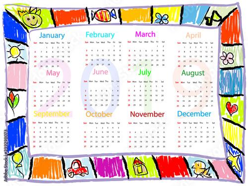 Fotografie, Tablou Colorful  Chalk drawing doodles frame children kids calendar 2019 year
