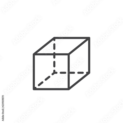 Geometric cube outline icon  linear style sign for mobile