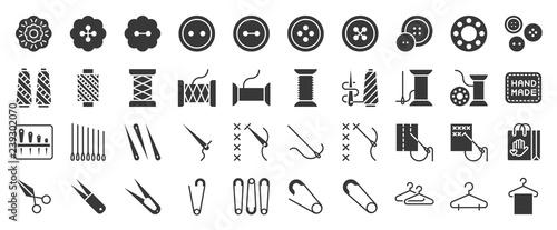 Fotografía  Sewing and handcraft elements icon. solid design