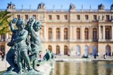 Bronze Sculpture In The Garden Of Versailles Palace