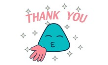 Lettering Thank You. Vector Cartoon Illustration Of Blue Face With Hand Sign. Isolated On White Background.