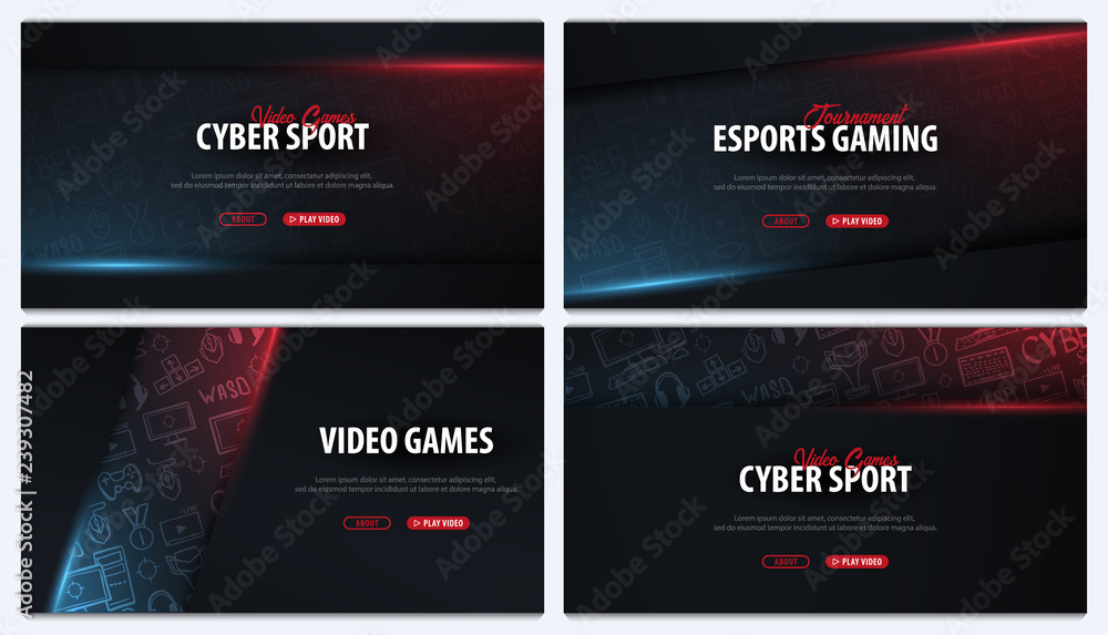 Fototapeta Set of Cyber Sport banners. Esports Gaming. Video Games. Live streaming game match. Vector illustration.