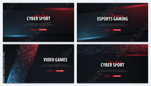 Valokuva Set of Cyber Sport banners
