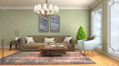 Fototapeta Interior of the living room. 3D illustration obraz na płótnie