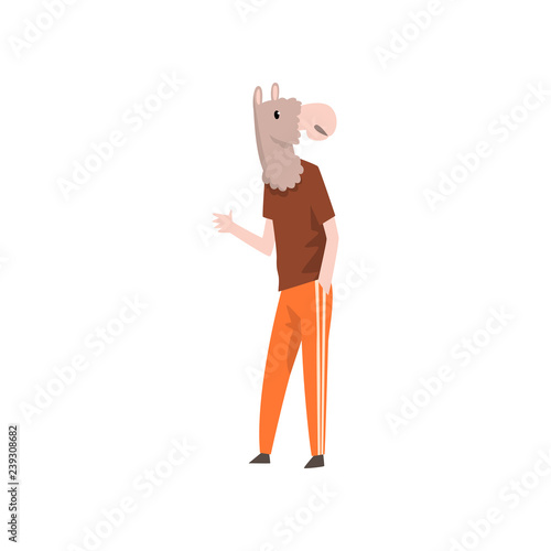 Photo Man with horse head, animal character wearing trendy clothes vector Illustration