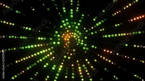 Photo  3d render green circle led VJ background