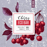 Eco bar paper emblem over hand drawn cherry branch - 239311647