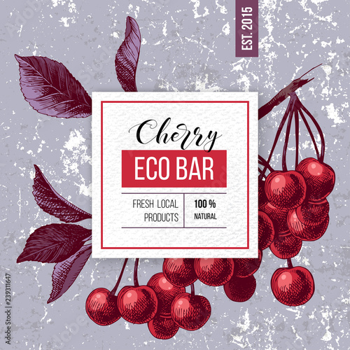 Eco bar paper emblem over hand drawn cherry branch Poster Mural XXL