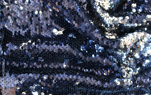 Aluminium Prints Macro photography metallic sparkling sequins scales background, round sequins in fashion dress,