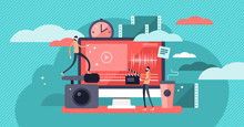 Video Editor Vector Illustration, Flat Mini Person Concept With Online Video Production