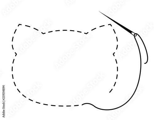 Silhouette Of Cat Head With Interrupted Contour Vector Illustration