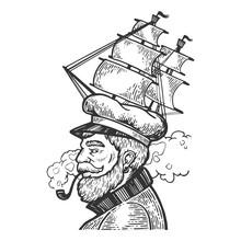 Captain Man With Sailing Ship ...