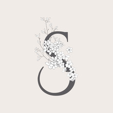 Vector Blooming Floral Initial...