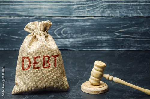 Photo  A bag of money and the word Debt and the hammer of the judge