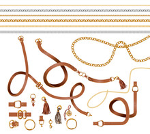 Set Of The Belt Elements, Chain And Braid For Fabric Design. Vector.