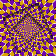 Abstract Shifted Frames With A Moving Yellow Purple Rhombuses Pattern. Optical Illusion Background.
