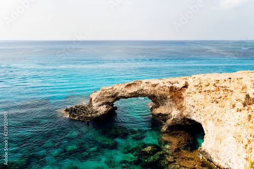 Autocollant pour porte Chypre Bridge of Lovers rock formation on the rocky shore of the Mediterranean sea on the island of Cyprus Ayia NAPA. No people.