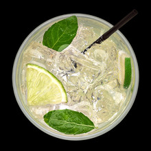 Gin Tonic, Caipirinha Top View, Mojito Cocktail From Top, Vodka Or Soda Drink With Lime, Mint And Straw Isolated On Black Background Including Clipping Path.