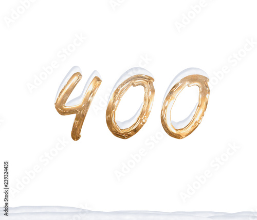 Gold Number 400 with Snow on white background Fototapete