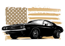 American Muscle Car With Flag
