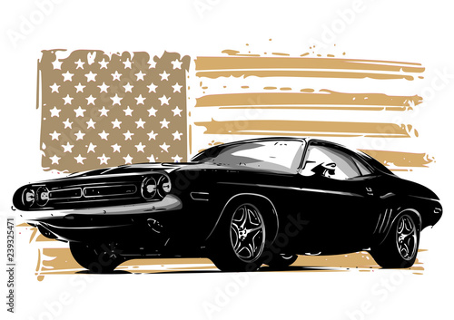 Plakat American muscle car with flag
