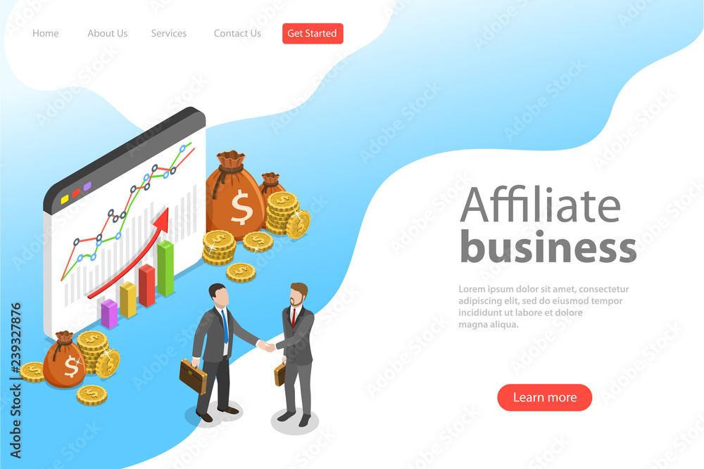 Fototapeta Flat isometric vector landing page template of affiliate marketing, business strategy, referral program, partnership.